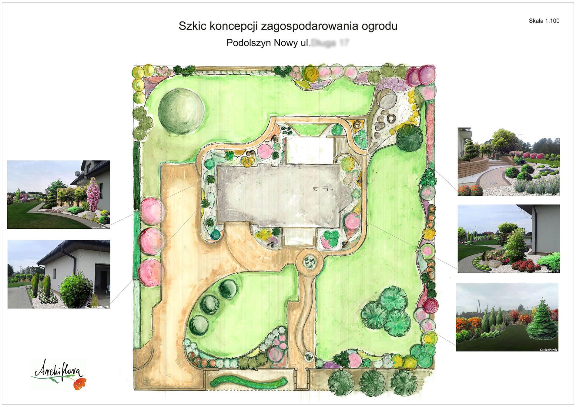 szkic koncepcji zagospodarowania ogrodu