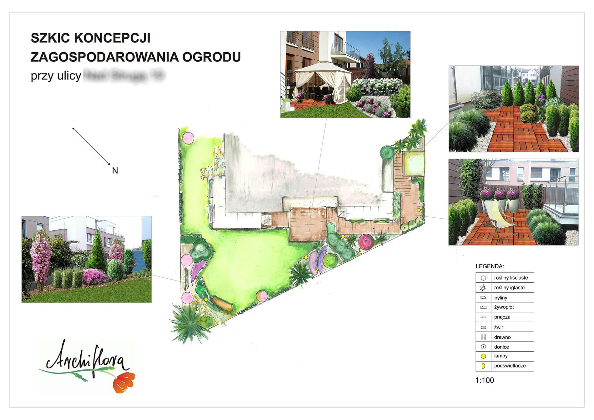 szkic koncepcji zagospodarownia ogrodu