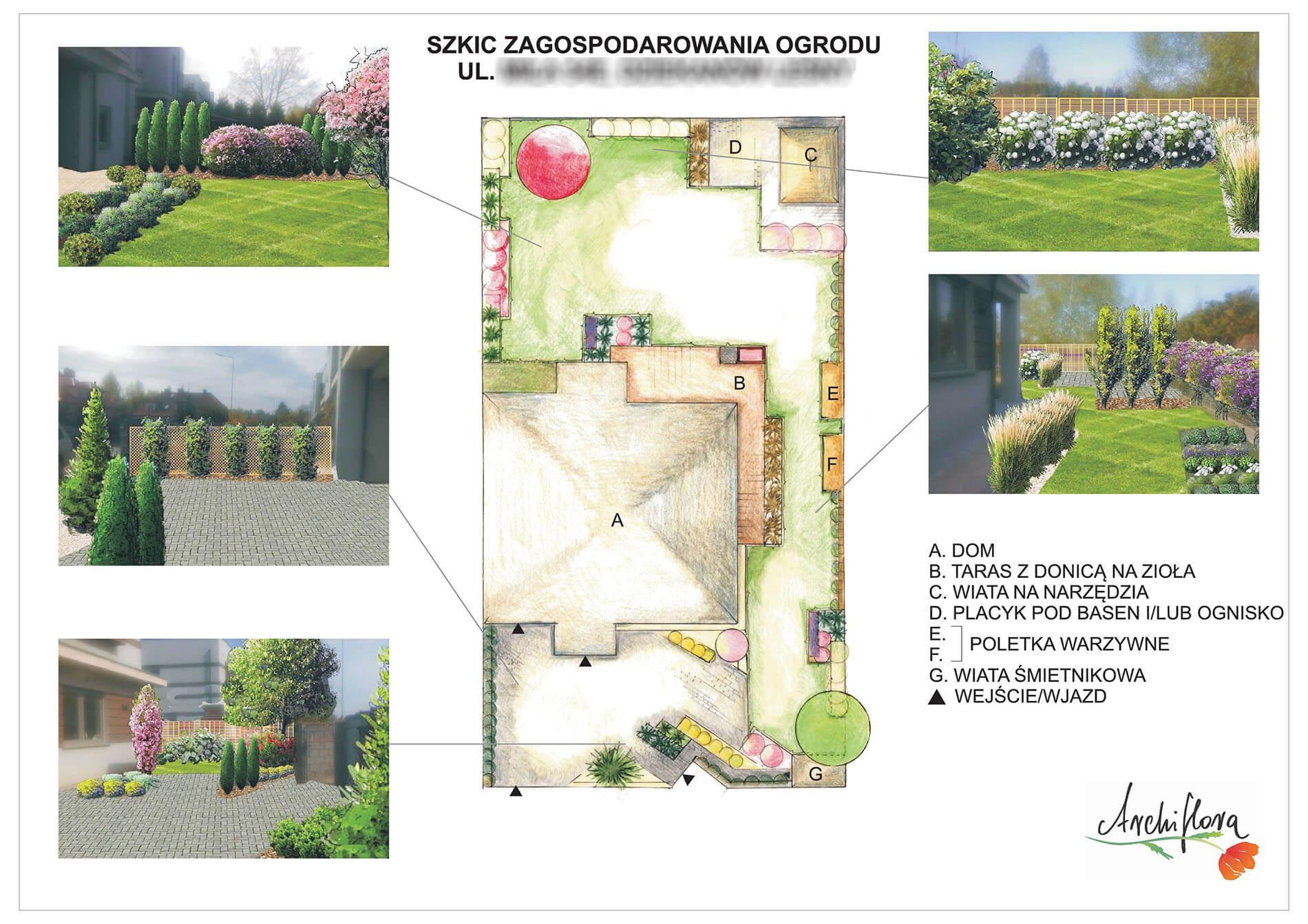 archiflora szkic zagospodarowania ogrodu